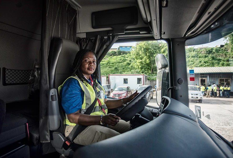 Female lorry drivers change gears in Ghana